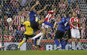Gol Peter Crouch contra Manchester United