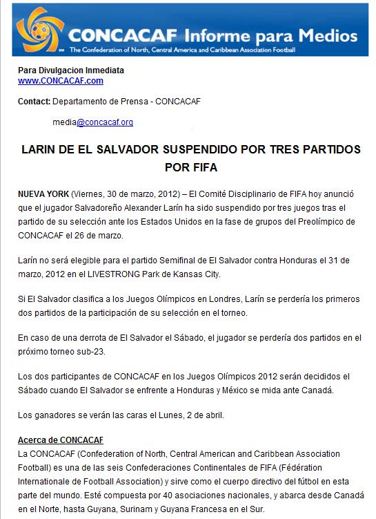 Comunicado Oficial Concacaf