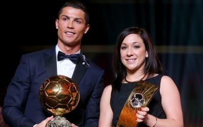 Nadine Kessler de Alemania junto a Cristiano Ronaldo en la gala del 12 de Enero 2015