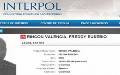 La alerta de Inerpol para la captura de Fredy Rincon