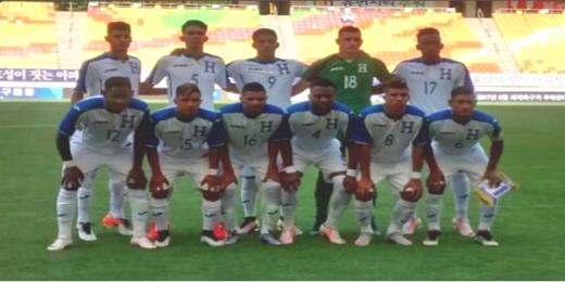 El once titular de Honduras que perdió 4-3 contra Dinamarca el 2 de Junio, 2016 en Corea. (Foto cortesía de la Fenafuth)