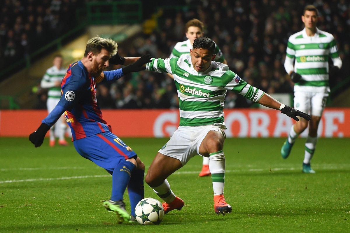Messi sumó 100 goles con los dos anotados al Celtic de Emilio Izaguirre que trata de frenar al argentino