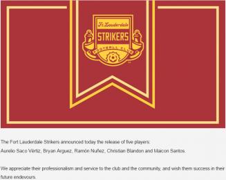 El mensaje de agradecimiento a los cinco jugadores despedidos en los Strikers