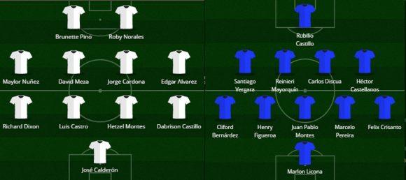 Así forman Platense (Blanco) y Motagua en el partido de vuelta de la final del Apertura el 18 de diciembre, 2016