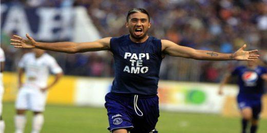 Santiago Vergara celebra el gol del triunfo de Motagua en la final de ida contra el Platense