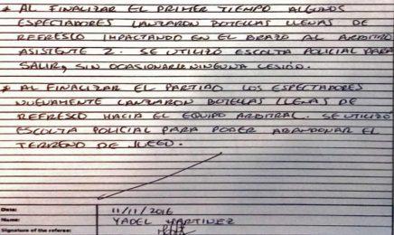 Un informe del árbitro cubano Yadel Martínez avalado por el comisario Egbert Lacle de Aruba culpó a la afición de haber lanzado objetos a la cancha.