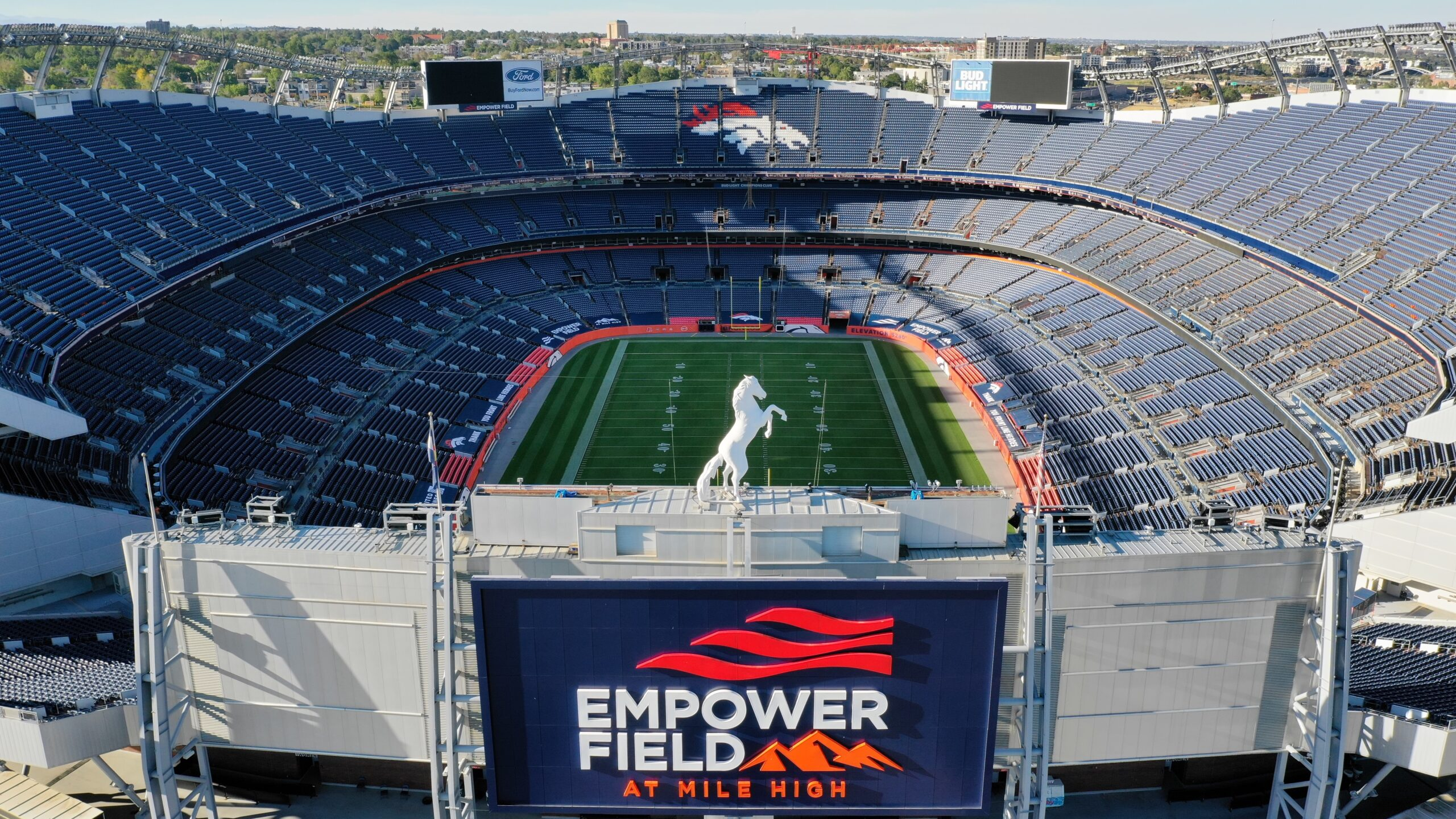 Aerial drone imagery and video of Empower Field at Mile High Stadium in Denver, Colorado