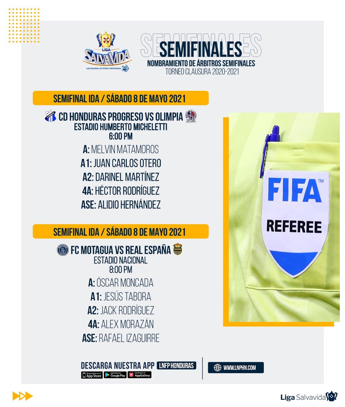 Arbitros semifinales ida Clausura 2021